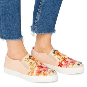 Dune London Evanni Blush Embroidered Slip-Ons
